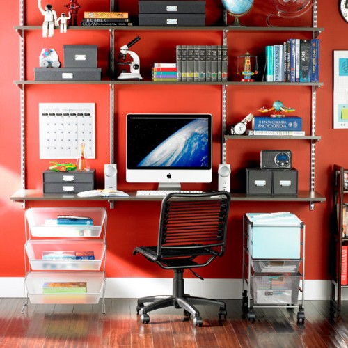 Black shelving look great on a colorful wall.