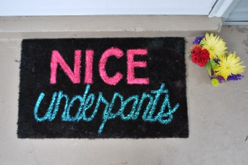 colorful letters doormat (via ohsoprettythediaries)