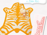 felt zebra rug