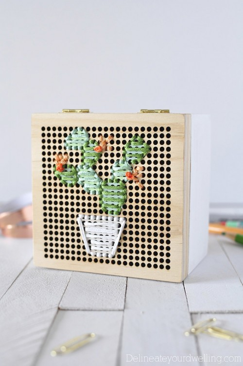 DIY Simple Cacti Embroidery Box