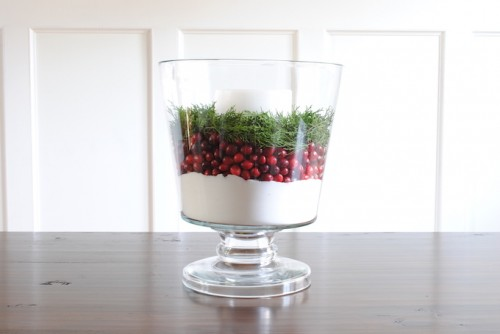 Simple DIY Christmas Cranberry Centerpiece