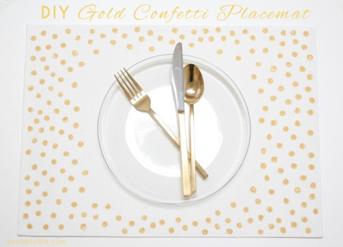 gold confetti placemats