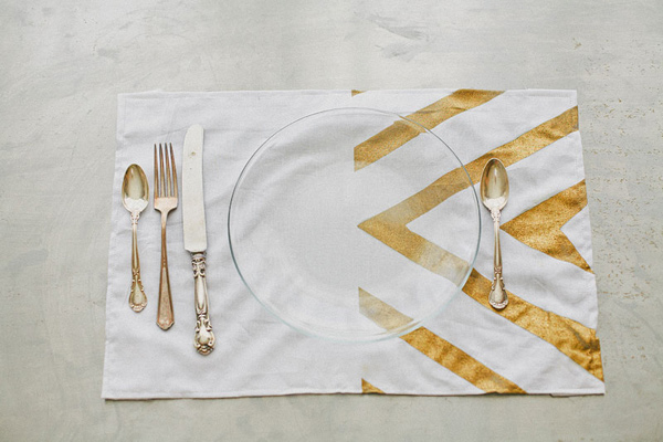 gold striped placemat