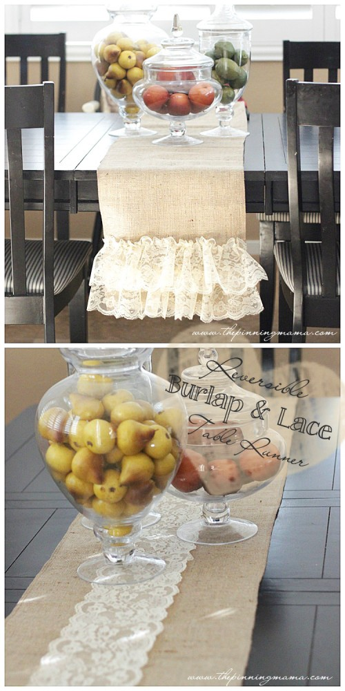 burlap and lace table runner (via thepinningmama)