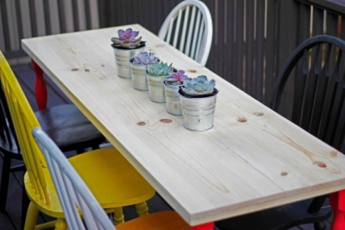 Simple DIY Dining Table With Colorful Legs