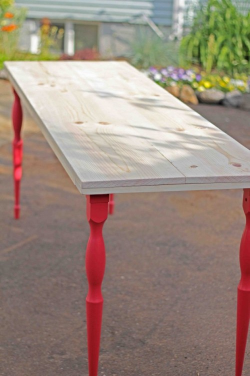 simple diy dining table with colorful legs shelterness