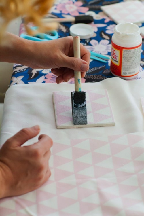 Simple DIY Fabric Tile Coasters To Make