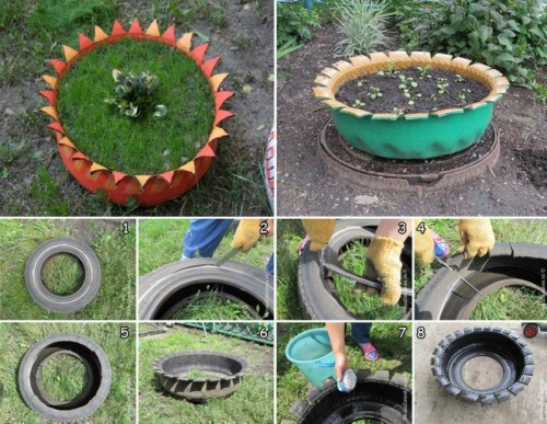 tyre flower bed (via usefuldiy)