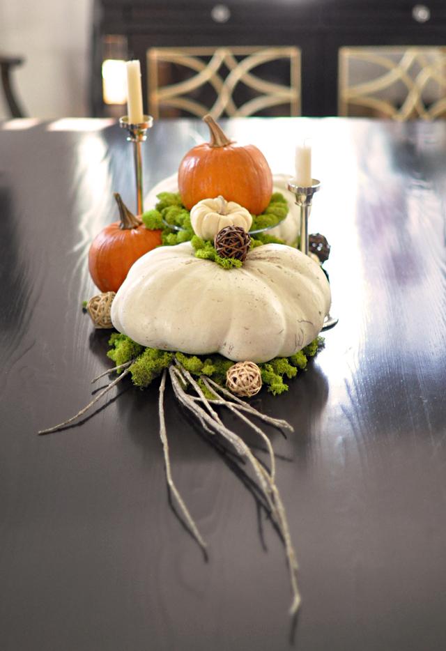 pumpkin and moss centerpiece