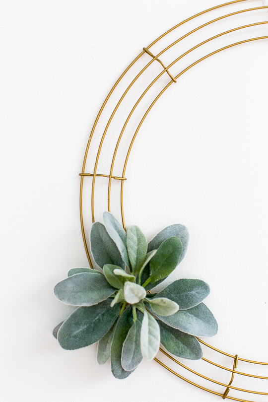 Picture Of simple diy geometric wreath with faux greenery  3