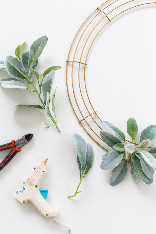 Picture Of simple diy geometric wreath with faux greenery  4