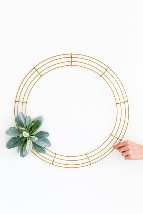 Simple DIY Geometric Wreath With Faux Greenery