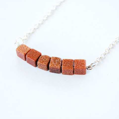 Simple Diy Goldstone Beads Necklace