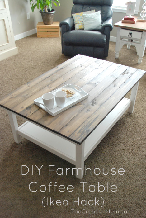 farmhouse Hemnes hack (via thecreativemom) - 5 Simple DIY IKEA Hemnes Coffee Table Hacks - Shelterness