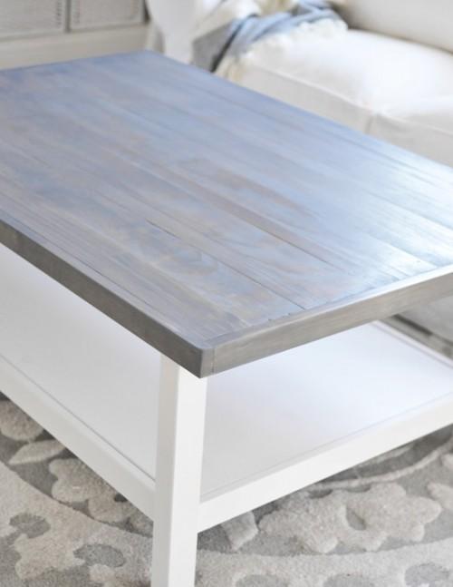 weathered Hemnes hack (via centsationalgirl) - 5 Simple DIY IKEA Hemnes Coffee Table Hacks - Shelterness