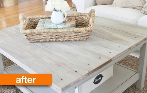 barnwood hack (via apartmenttherapy) - 5 Simple DIY IKEA Hemnes Coffee Table Hacks - Shelterness