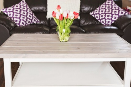 rustic hack (via littleadventuresblog) - 5 Simple DIY IKEA Hemnes Coffee Table Hacks - Shelterness