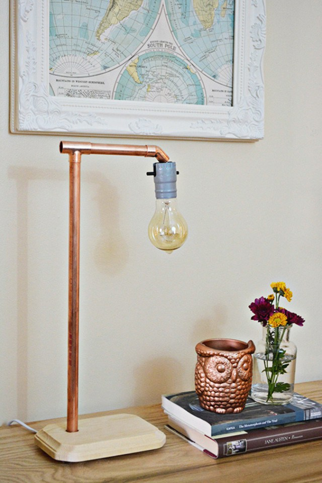 Picture Of simple diy industrial copper lamp  1