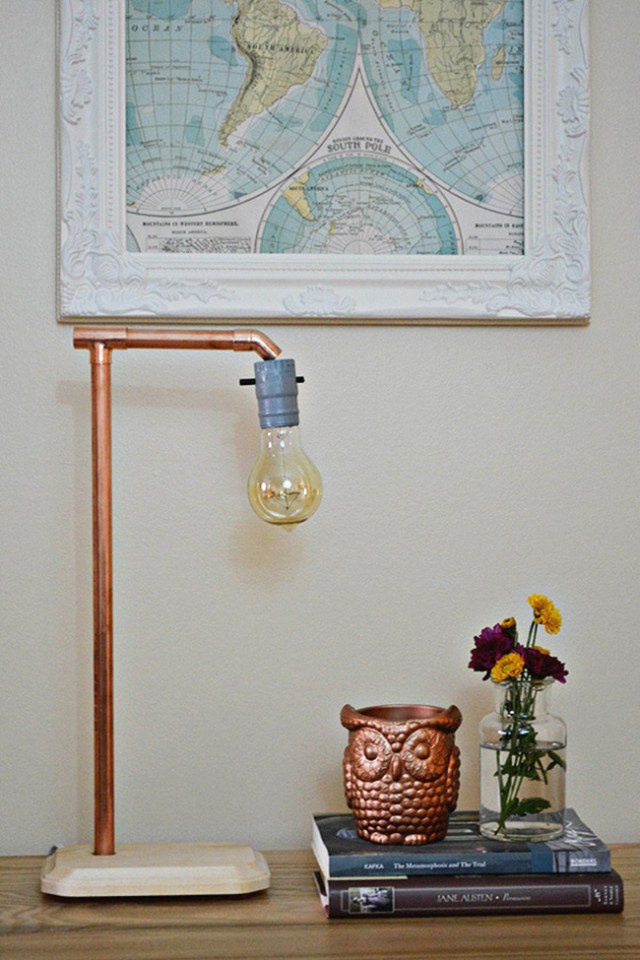 Picture Of simple diy industrial copper lamp  5