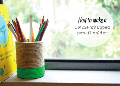 colored twine pencil holders (via craftedblog)