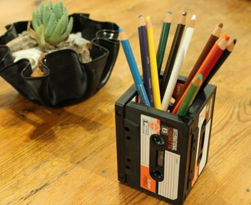 upcycled cassettes pencil holder