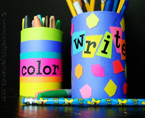 colorful back-to-school pencil holders