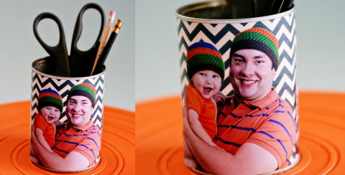 family picture pencil holder