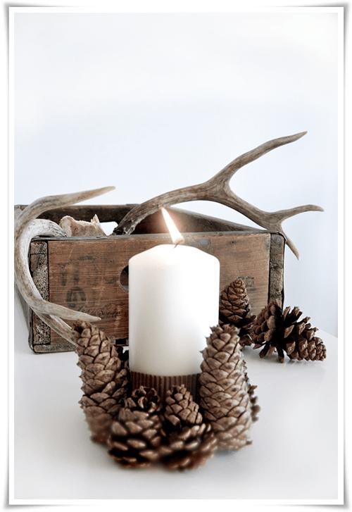 pinecone candleholder (via stylizimoblog)