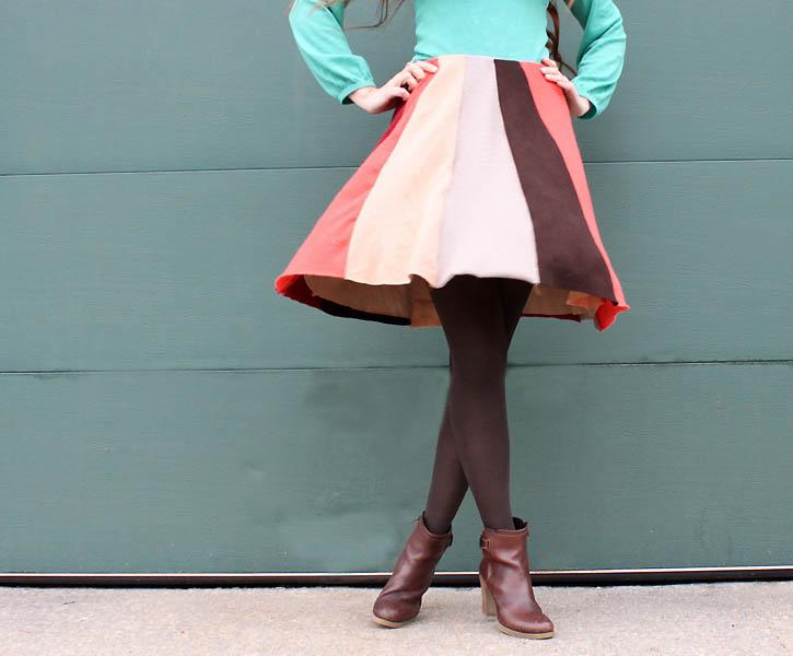old sweater swing skirt