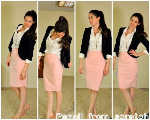pink pencil skirt (via cottonandcurls)
