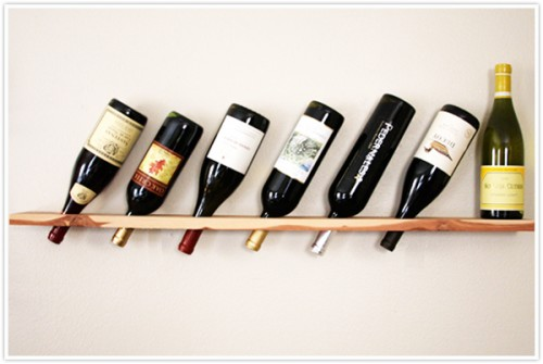 Simple DIY Wall Mount Wine Rack Made Of A Single Wood Plank