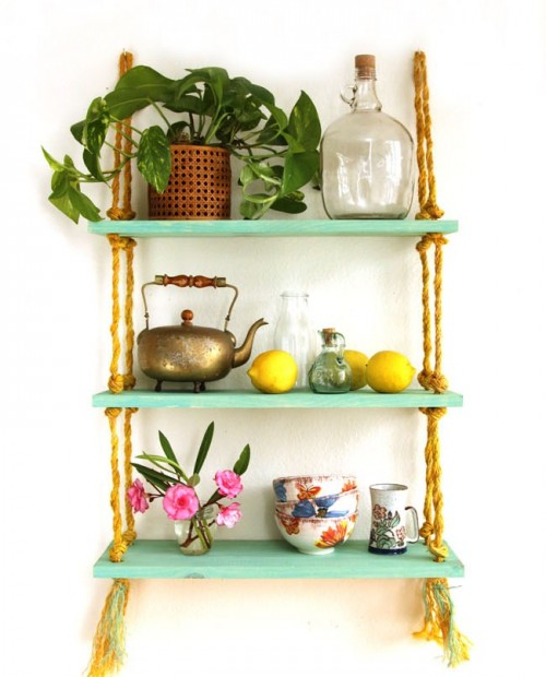 Simple DIY Wall Shelves Hung On Ropes