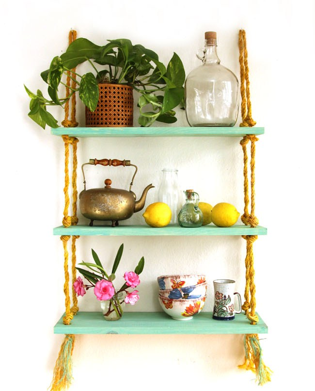 Picture Of simple diy wall shelves hung on ropes  1