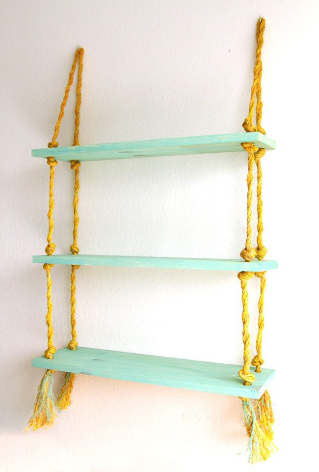 Picture of simple diy wall shelves hung on ropes 7 for Easy diy shelves