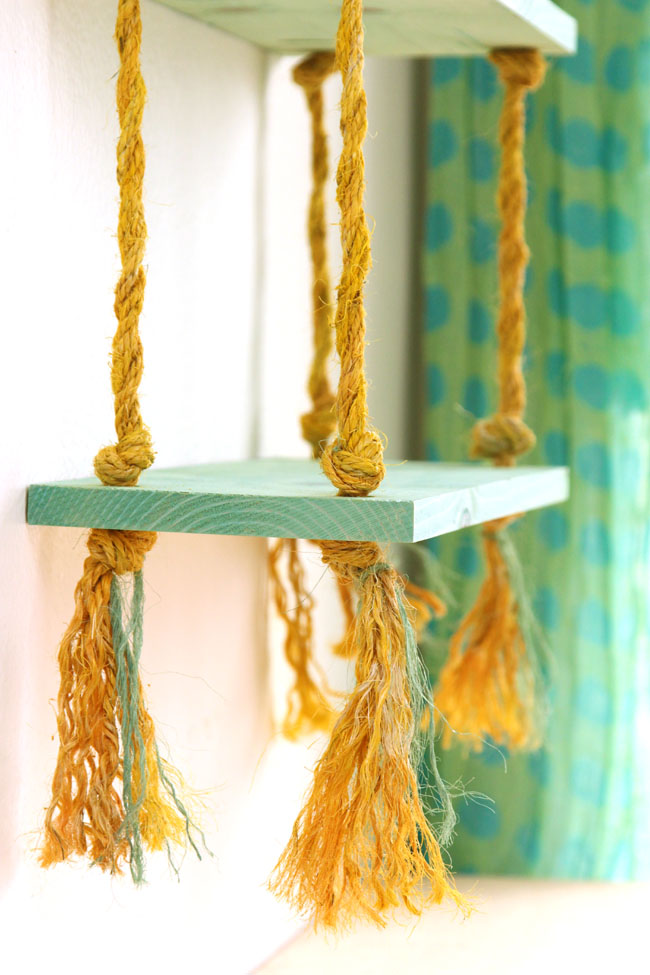 Picture Of simple diy wall shelves hung on ropes  8