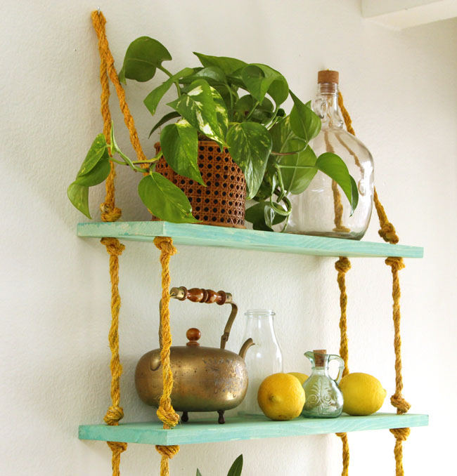 Picture Of simple diy wall shelves hung on ropes  9
