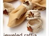 raffia and rhinestone leaves napkin rings