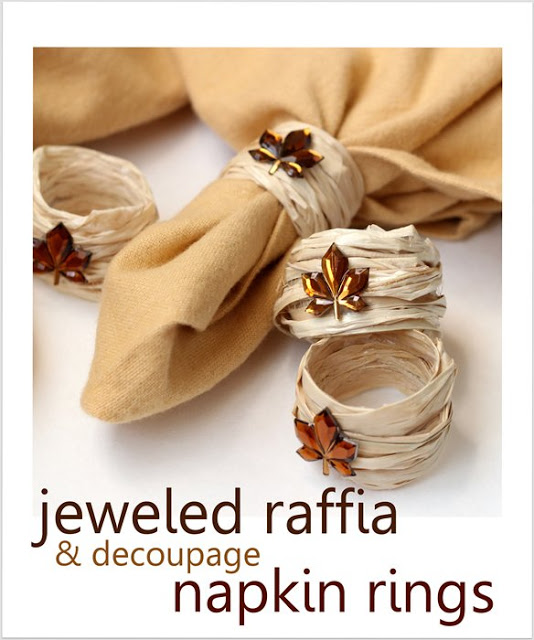 raffia and rhinestone leaves napkin rings