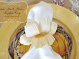 corn husk flower napkin ring