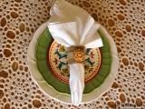 burlap and clay napkin rings