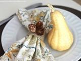 pine cones and burlap napkin rings
