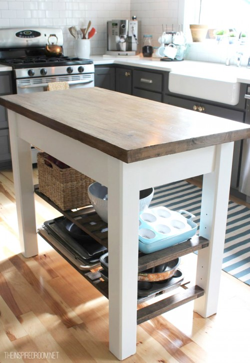 Vintage distressing kitchen island via theinspiredroom