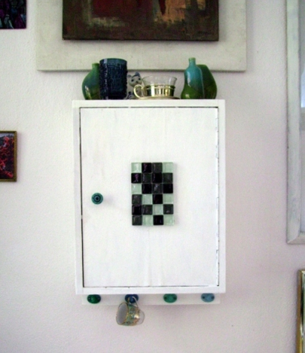 Small Cupboard Renovation With Paint And Glass Tiles