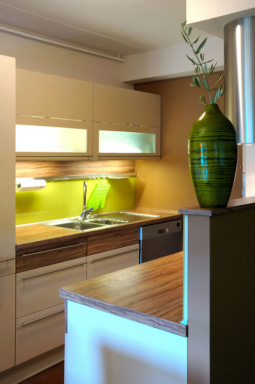 Attractive Super Tiny Kitchen That Features A Lot Of Under Cabinet Lights