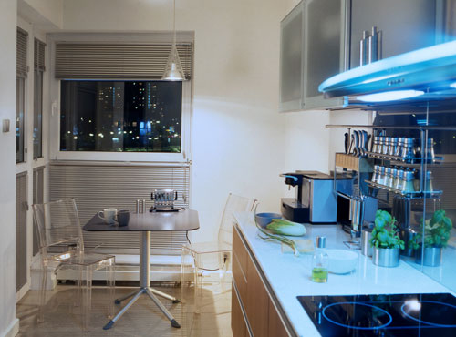 Kitchens in apartment are usually small but their look great in modern style.