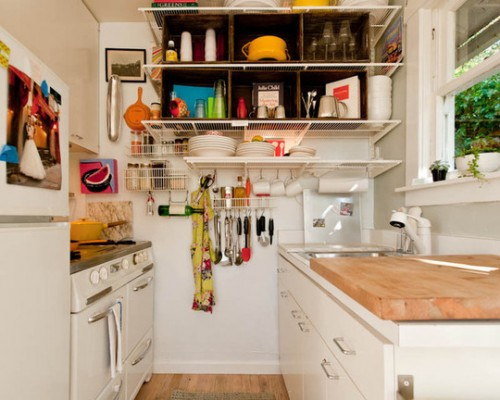 Small Kitchen Design. Open Shelving Is A Way To Go If You Need An  Additional Storage Space