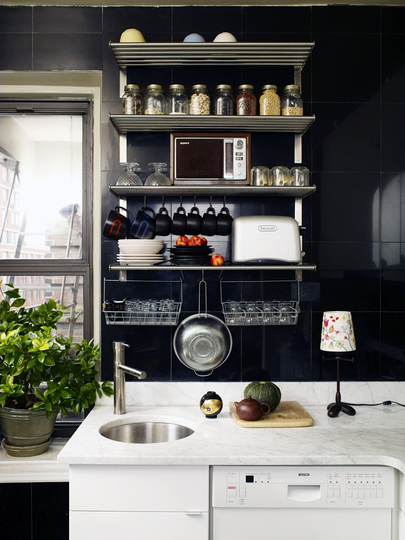 Open shelving could become a perfect storage solution for a tiny kitchen.