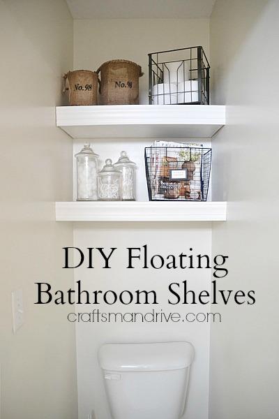 bathroom floating shelves (via craftsmandrive)