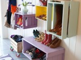 wine crates shoe racks