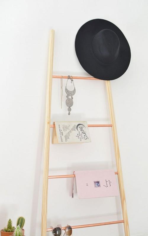 copper and wood ladder shelf (via shelterness)